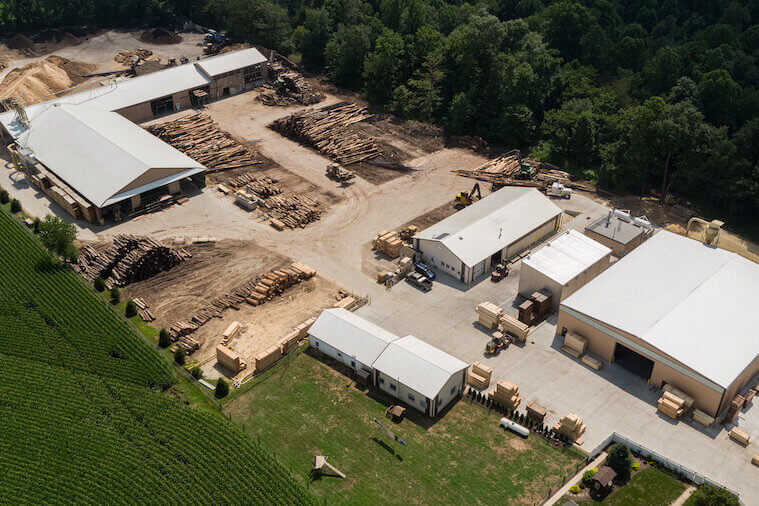 Aerial view of Stoltzfus Forest Products' sawmill and mulch facilities